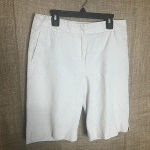 Talbots Striped Bermuda Shorts 4 Khaki White Beach